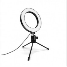 Кольцевая светодиодная LED лампа 16 см на штативе, настольная